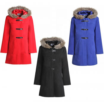 LADIES DUFFLE WOOL HOODED COAT