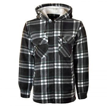 MENS PADDED SHIRT FUR LINED LUMBERJACK FLANNEL WORK JACKET WARM THICK CASUAL TOP HOODED High Mount Hooded Black