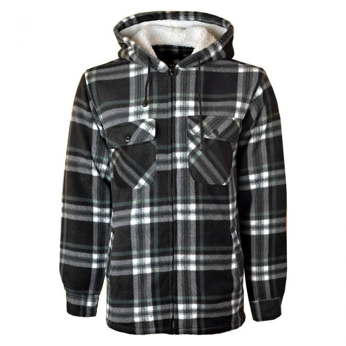 MENS PADDED SHIRT FUR LINED LUMBERJACK FLANNEL WORK JACKET WARM THICK CASUAL TOP-HOODED-High Mount Hooded Black