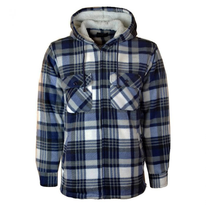 MENS PADDED SHIRT FUR LINED LUMBERJACK FLANNEL WORK JACKET WARM THICK CASUAL TOP-HOODED-High Mount Hooded Blue