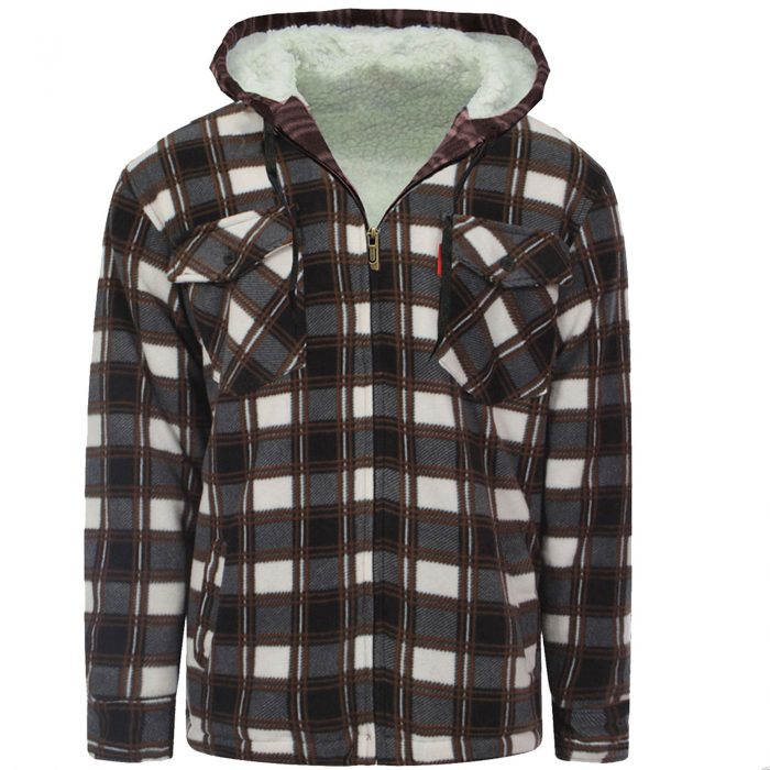 MENS PADDED SHIRT FUR LINED LUMBERJACK FLANNEL WORK JACKET WARM THICK CASUAL TOP-HOODED-High-Mount-Hooded-Brown