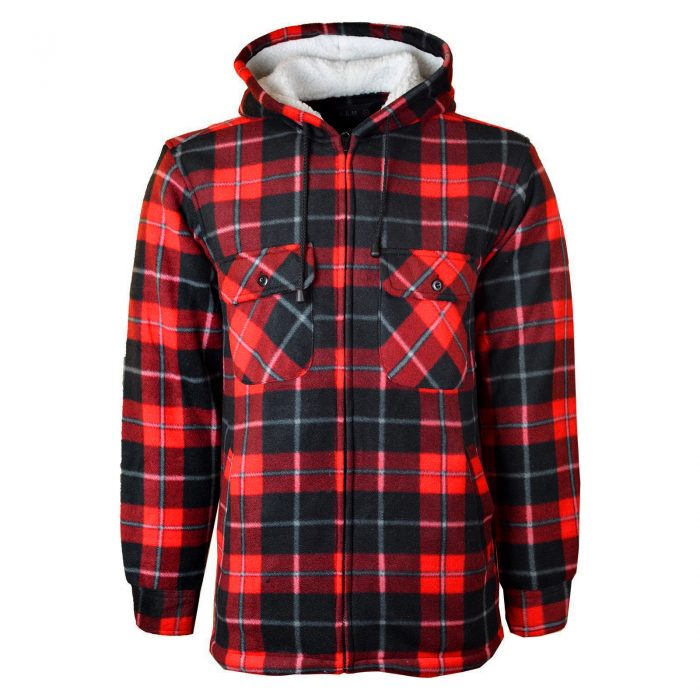 MENS PADDED SHIRT FUR LINED LUMBERJACK FLANNEL WORK JACKET WARM THICK CASUAL TOP-HOODED-High-High Mount Hooded Red