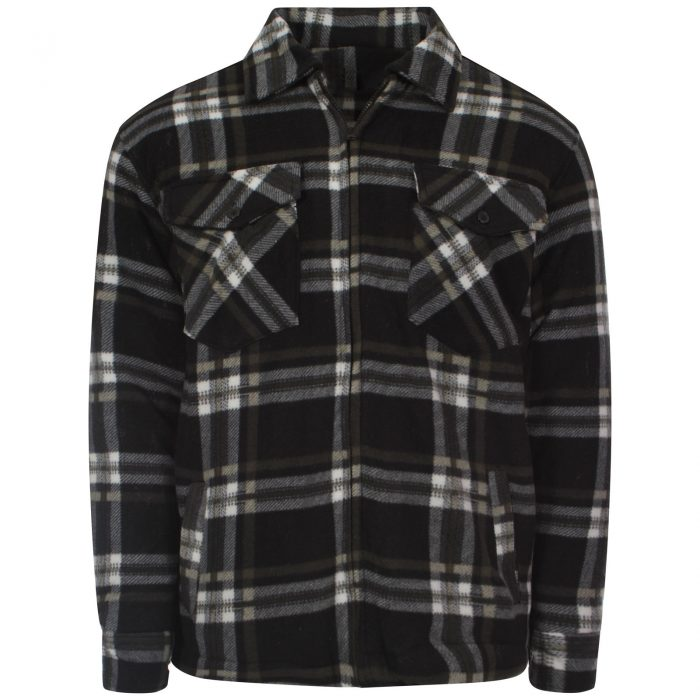 MENS PADDED SHIRT FUR LINED LUMBERJACK FLANNEL WORK JACKET WARM THICK CASUAL TOP-Collered-High Mount Black