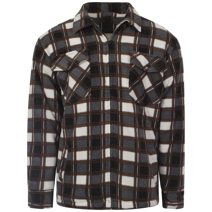 MENS PADDED SHIRT FUR LINED LUMBERJACK FLANNEL WORK JACKET WARM THICK CASUAL TOP-Collered-Hight Mount Brown