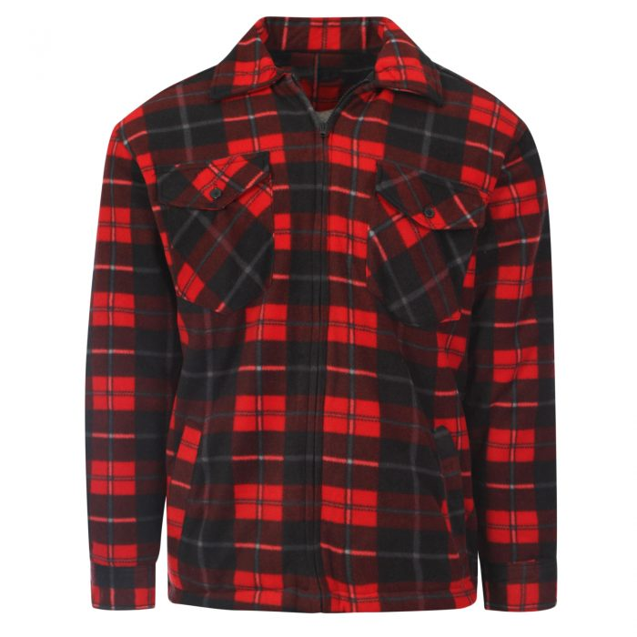 MENS PADDED SHIRT FUR LINED LUMBERJACK FLANNEL WORK JACKET WARM THICK CASUAL TOP-Collered-Jacket-Red 2