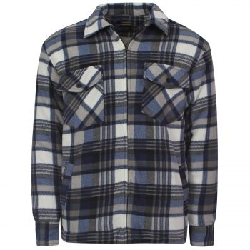 MENS PADDED SHIRT FUR LINED LUMBERJACK FLANNEL WORK JACKET WARM THICK CASUAL TOP Collered Hight Mount Blue