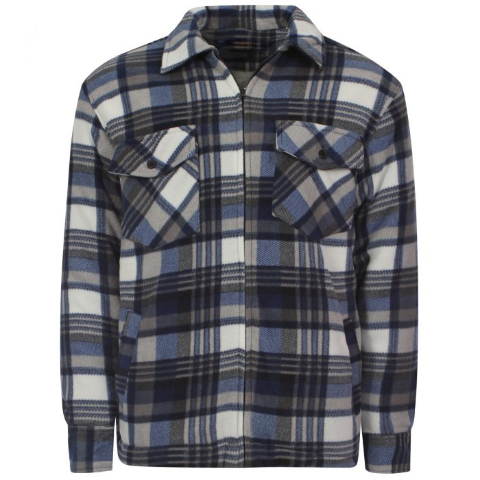 MENS PADDED SHIRT FUR LINED LUMBERJACK FLANNEL WORK JACKET WARM THICK CASUAL TOP-Collered-Hight Mount Blue