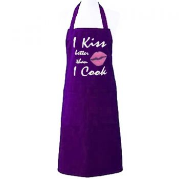 I KISS BETTER THAN I COOK PURPLE APRON