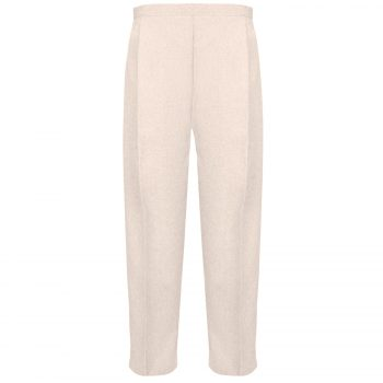 BRAND NEW WOMENS LADIES HALF ELASTICATED WAIST WORK OFFICE TROUSER POCKETS PANTS Light Beige