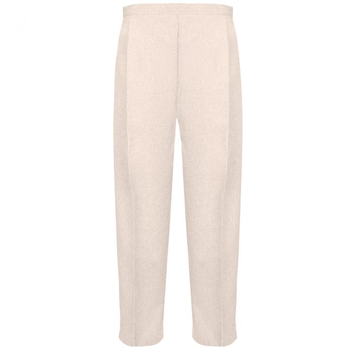 BRAND NEW WOMENS LADIES HALF ELASTICATED WAIST WORK OFFICE TROUSER POCKETS PANTS-Light-Beige