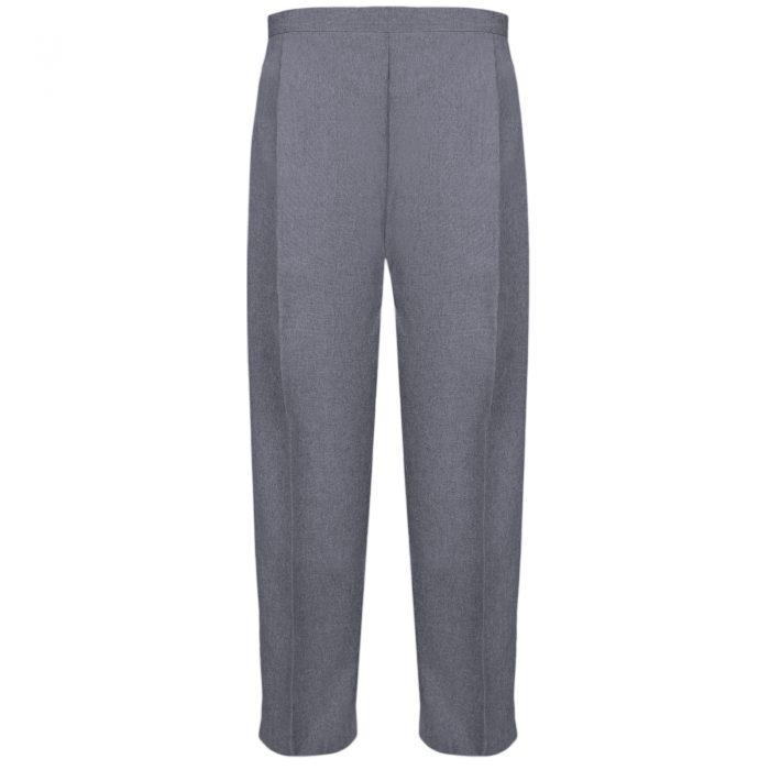 BRAND NEW WOMENS LADIES HALF ELASTICATED WAIST WORK OFFICE TROUSER POCKETS PANTS-Grey