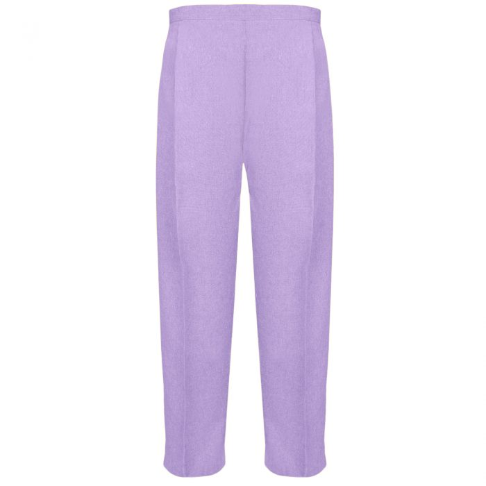 BRAND NEW WOMENS LADIES HALF ELASTICATED WAIST WORK OFFICE TROUSER POCKETS PANTS-Lilac