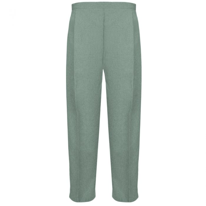 BRAND NEW WOMENS LADIES HALF ELASTICATED WAIST WORK OFFICE TROUSER POCKETS PANTS-Sage Green