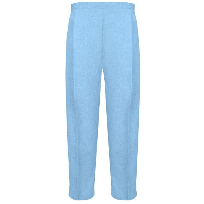 BRAND NEW WOMENS LADIES HALF ELASTICATED WAIST WORK OFFICE TROUSER POCKETS PANTS-Sage Sky Blue