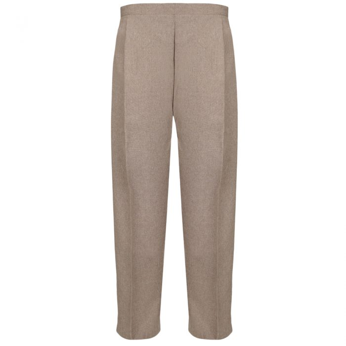 BRAND NEW WOMENS LADIES HALF ELASTICATED WAIST WORK OFFICE TROUSER POCKETS PANTS-Taupe
