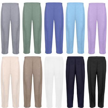 PACK OF 2 LADIES HALF ELASTICATED TROUSERS