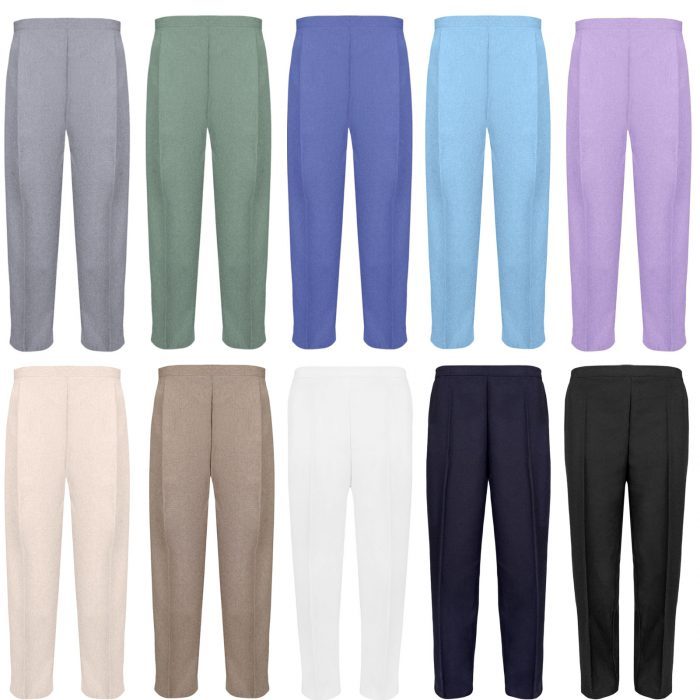 BRAND NEW WOMENS LADIES HALF ELASTICATED WAIST WORK OFFICE TROUSER POCKETS PANTS
