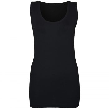 LADIES WOMEN'S PLAIN SUMMER VEST Black
