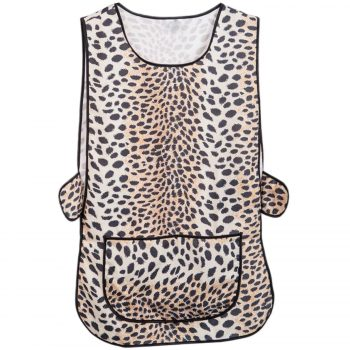 LADIES WOMEN TABARD APRON OVERALL KITCHEN CATERING CLEANING BAR PLUS SIZE POCKET Check Leopard