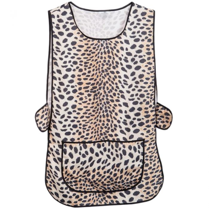 LADIES WOMEN TABARD APRON OVERALL KITCHEN CATERING CLEANING BAR PLUS SIZE POCKET-check-Leopard