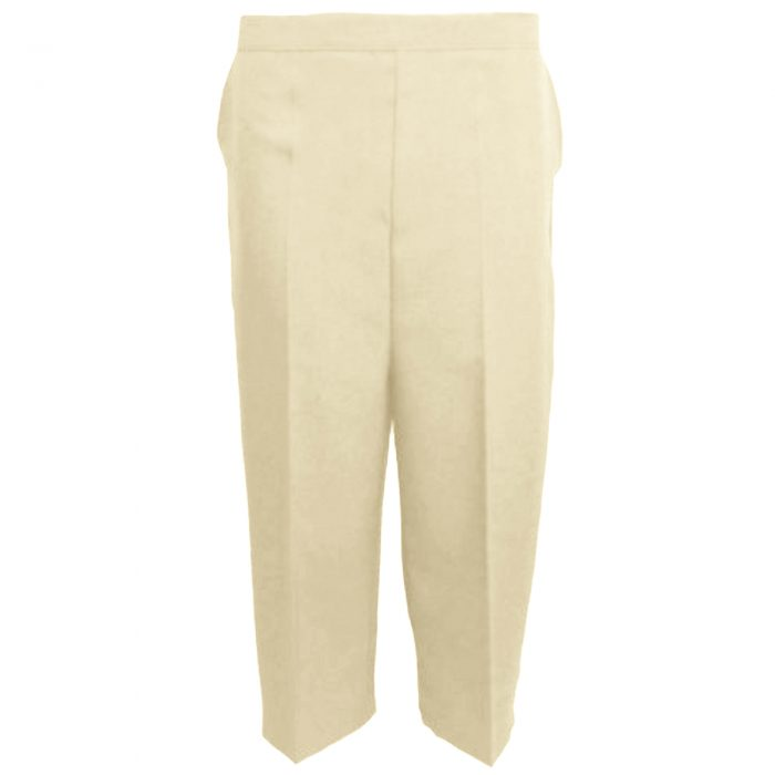 Ladies Womens 3/4 Three Quarter Length Trousers Capri Cropped Crop Plain Pants-Beige