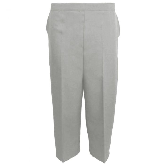 Ladies Womens 3/4 Three Quarter Length Trousers Capri Cropped Crop Plain Pants-Light Grey