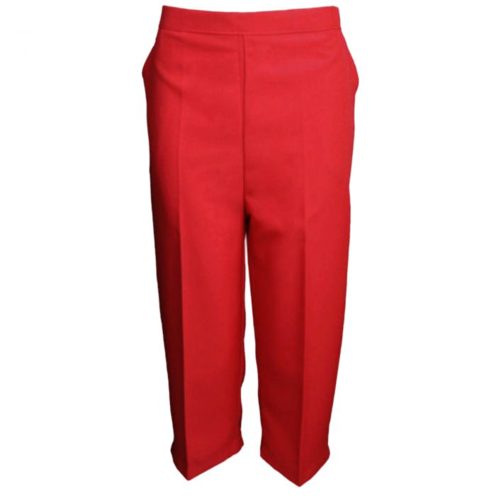 Ladies Womens 3/4 Three Quarter Length Trousers Capri Cropped Crop Plain Pants-Red