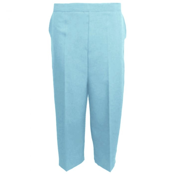Ladies Womens 3/4 Three Quarter Length Trousers Capri Cropped Crop Plain Pants-Sky Blue