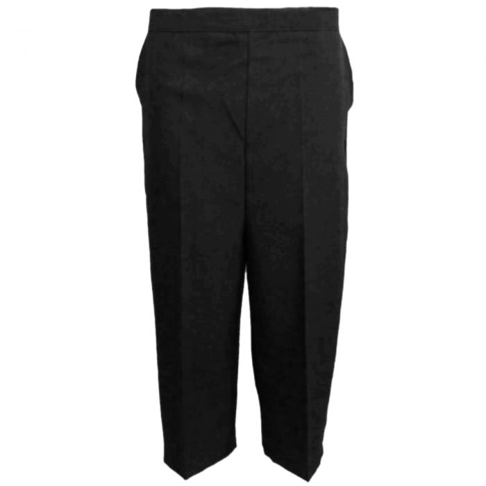 Ladies Womens 3/4 Three Quarter Length Trousers Capri Cropped Crop Plain Pants-black