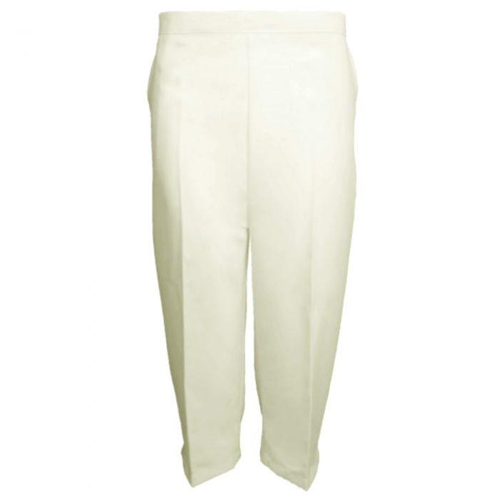Ladies Womens 3/4 Three Quarter Length Trousers Capri Cropped Crop Plain Pants-ivory