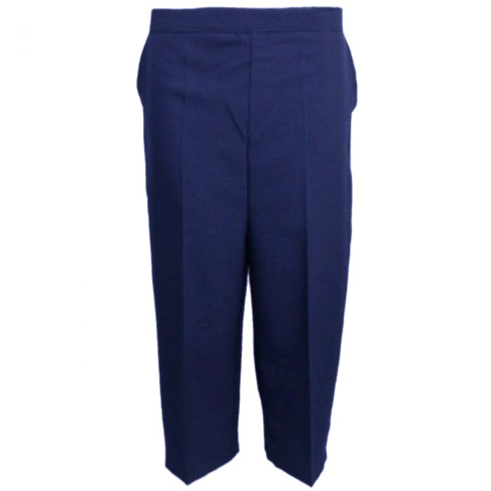 Ladies Womens 3/4 Three Quarter Length Trousers Capri Cropped Crop Plain Pants-navy