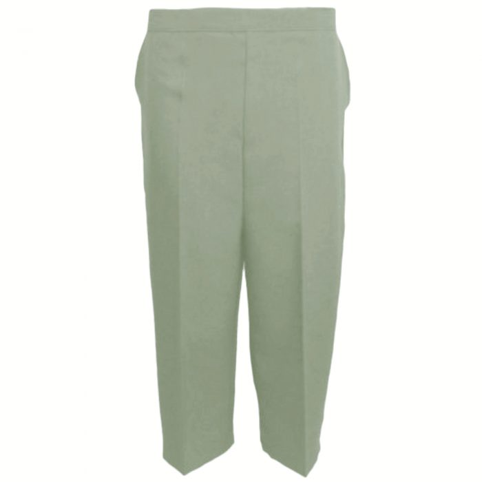 Ladies Womens 3/4 Three Quarter Length Trousers Capri Cropped Crop Plain Pants-sage green