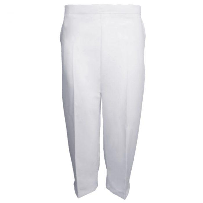 Ladies Womens 3/4 Three Quarter Length Trousers Capri Cropped Crop Plain Pant-white