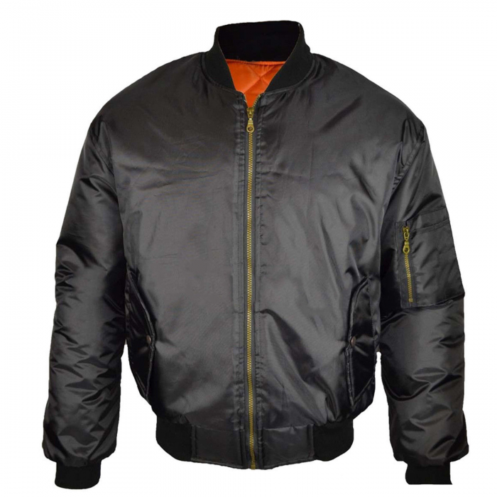 Mens-JACKET WINTER BIKER MA1 BOMBER-Black