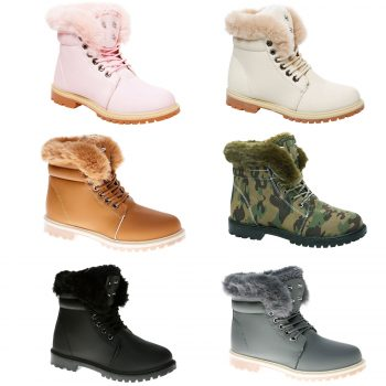 LADIES ANKLE FUR LINE BOOTS