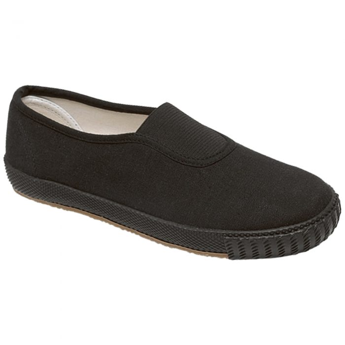BOYS GIRLS UNISEX SCHOOL PE PUMPS-black-Slip-Up
