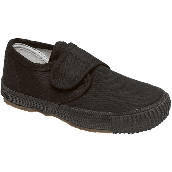 BOYS GIRLS UNISEX SCHOOL PE PUMPS-black-Velcro