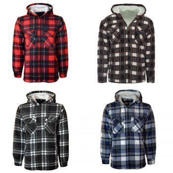 MENS HOODED PADDED CHECK SHIRT