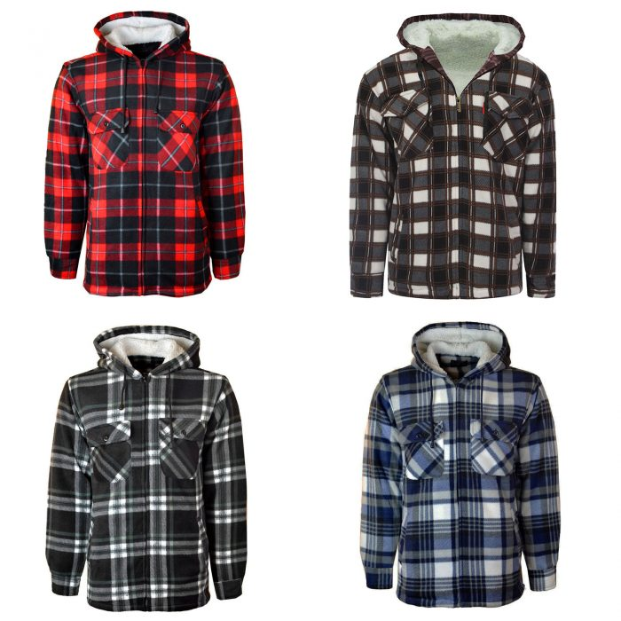 MENS PADDED SHIRT FUR LINED LUMBERJACK FLANNEL WORK JACKET WARM THICK CASUAL TOP-HOODED-Jacket