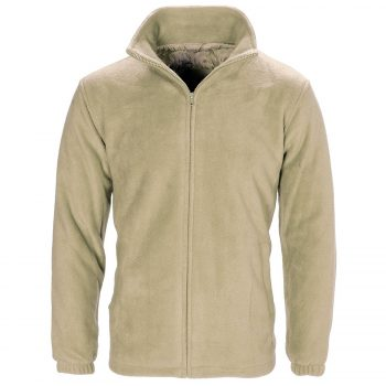 MENS WOMEN LADIES UNISEX POLAR POLO FLEECE JACKET ANTI PILL MICRO WORK COAT TOP Polo Fleece Beige