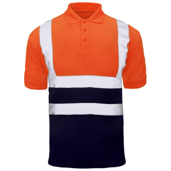 Polo Shirts orange Navy short sleeve 1