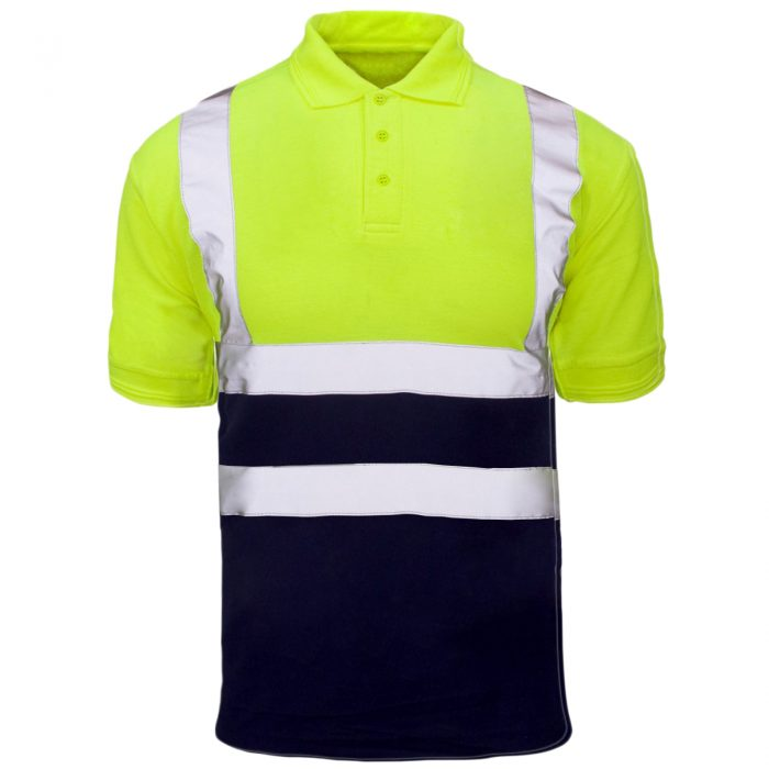 Polo Shirts yellow Navy short sleeve1