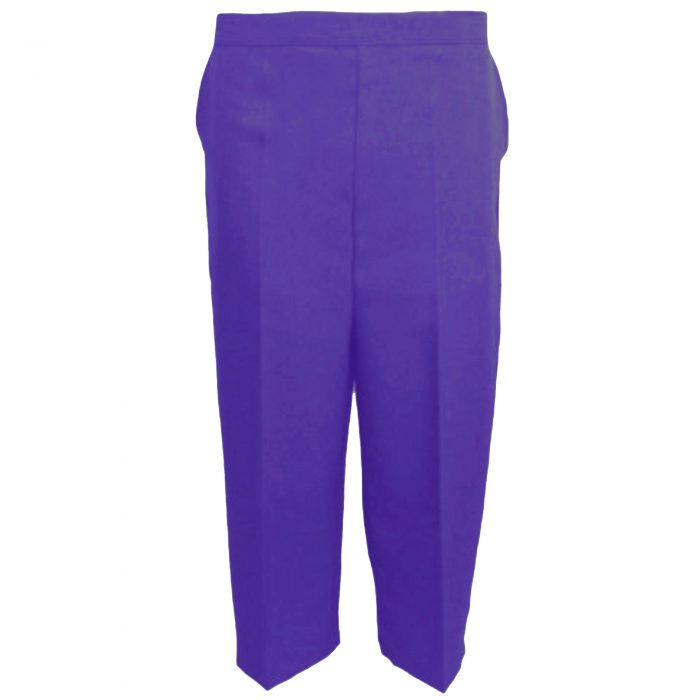 Ladies Womens 3/4 Three Quarter Length Trousers Capri Cropped Crop Plain Pant-Purple