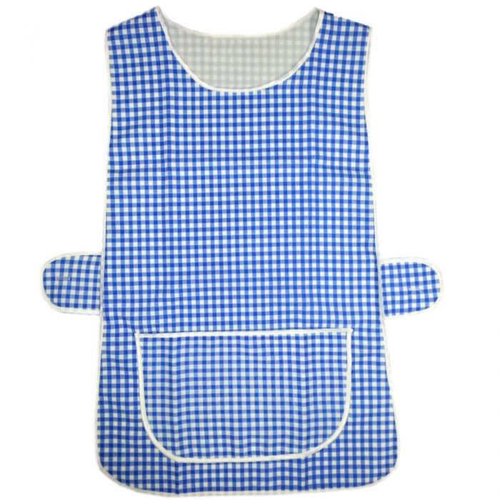LADIES WOMEN TABARD APRON OVERALL KITCHEN CATERING CLEANING BAR PLUS SIZE POCKET-check-Royal Blue Check1