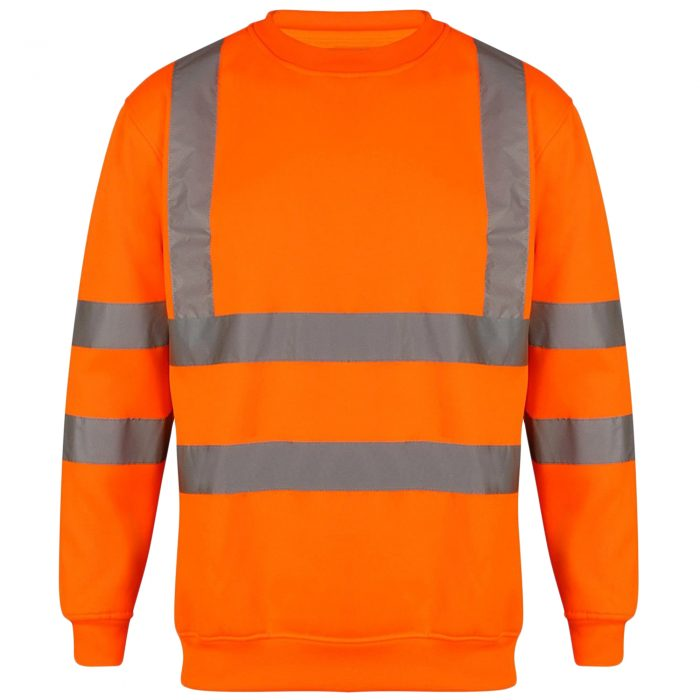 HI VIS VIZ SWEATSHIRT WITHOUT HOOD-Sweatshirt Crew Neck Black-Crew Neck Orange 1