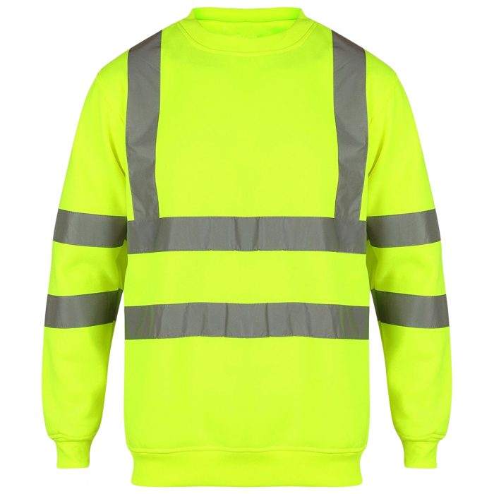HI VIS VIZ SWEATSHIRT WITHOUT HOOD-Sweatshirt Crew Neck Black-Crew Neck Yellow 1