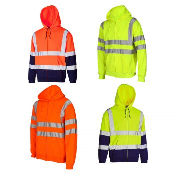 HI VIS VIZ ZIPPED HOODED SWEATSHIRT