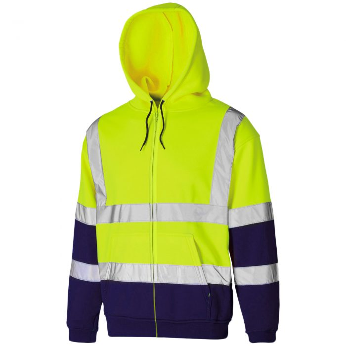 HI VIS VIZ ZIP HOODED SweatshirtHI VIS VIZ ZIP HOODED Sweatshirt Yellow Navy