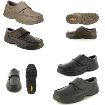 DR KELLER TEXAS MEN'S WIDE FIT VELCRO SHOES