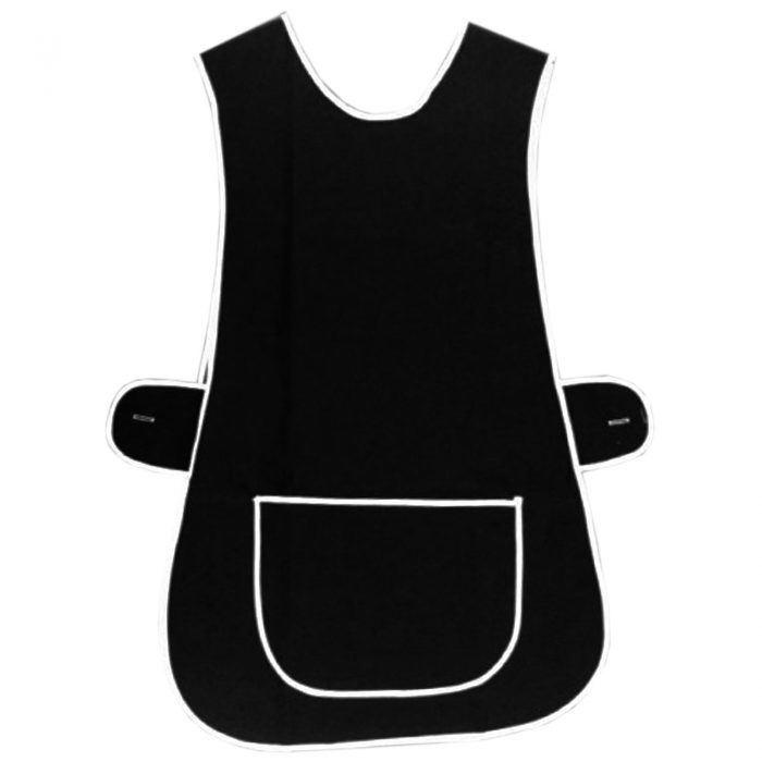 LADIES TABARD TABBARD APRON WITH POCKET PLUS SIZE BIG KITCHEN CLEANING CHEF-Plain-Tabbard Black